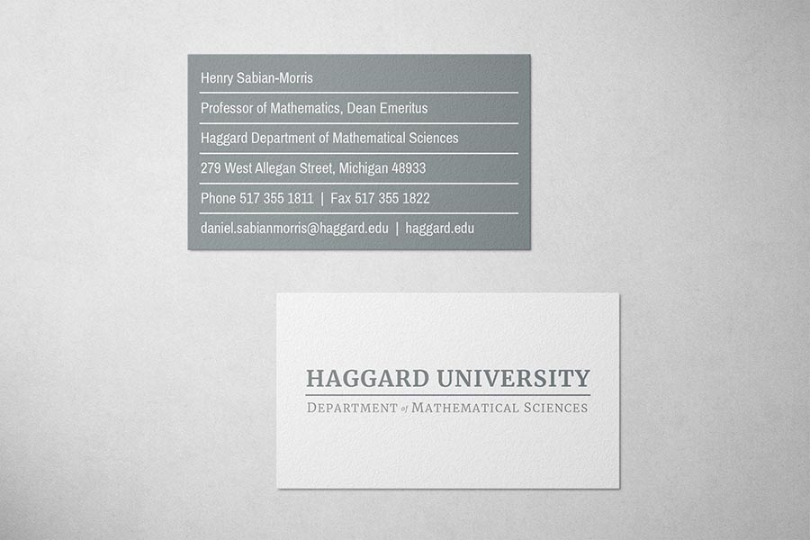 Haggard University Business Card